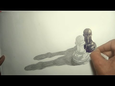 How to Draw Chess Pawn on Paper - Easy 3D Trick Art Drawing