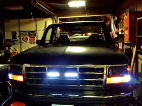 8 Led X2 Light Bars In 94 Bronco Grille Youtube