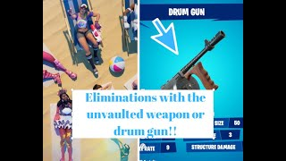 DAY 3 FORTNITE SUMMER CHALLENGES GET ELIMINATIONS WITH THE UNVAULTED WEAPON OR DRUM GUN!