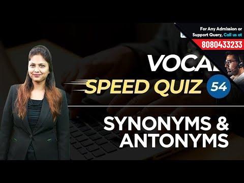 Vocab Speed Quiz 54 | Important Synonyms & Antonyms | Learn From Pratibha Ma'am