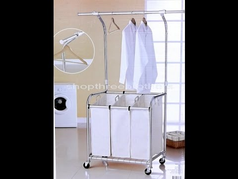 Rolling Laundry Cart With Hanging Bar Youtube