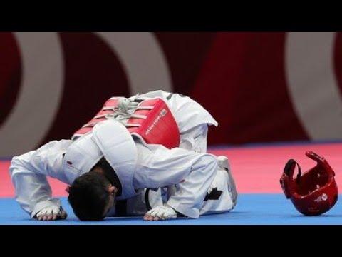 Ahmad Abughaush of Jordan New Taekwondo (Motivational speech) never give up 2018.