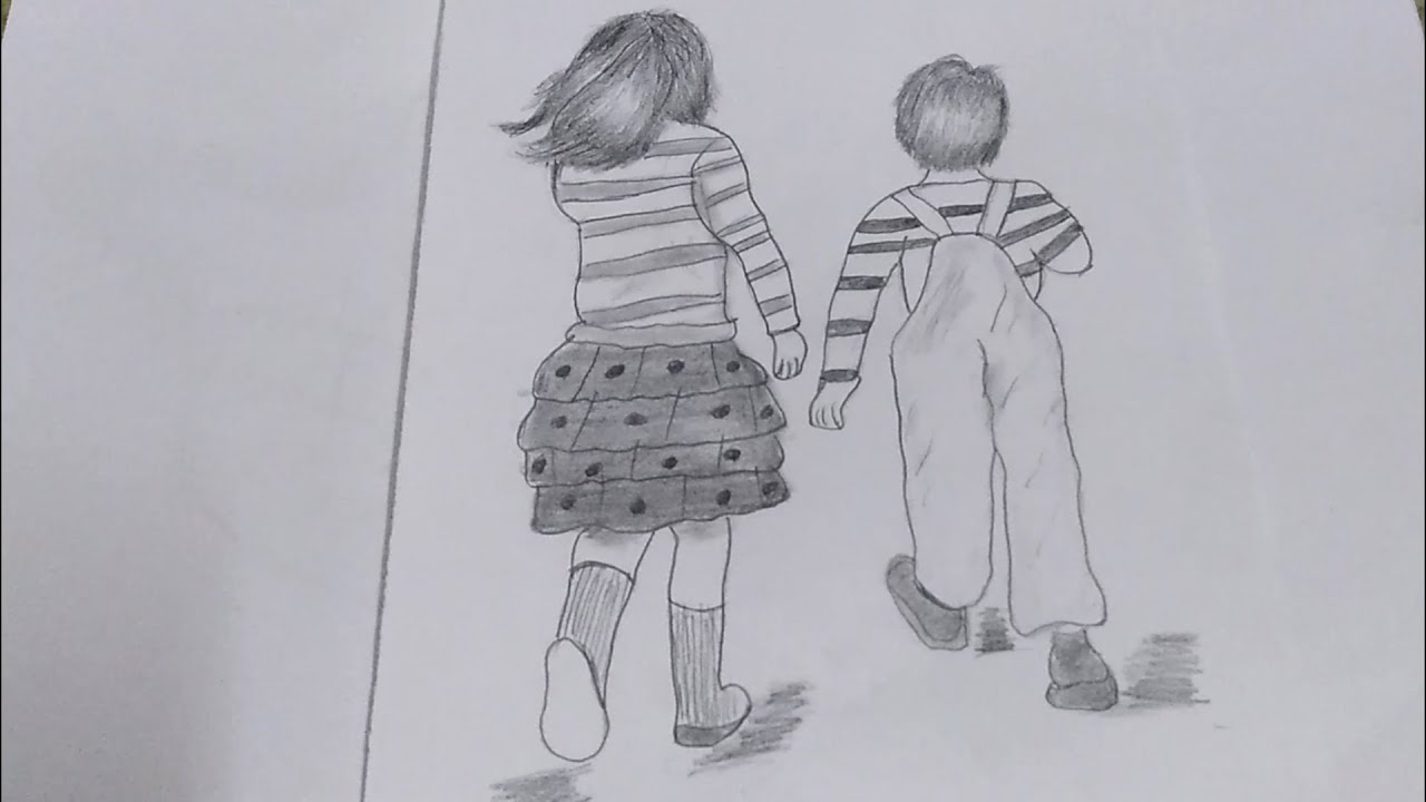 How to Draw Brother and Sister Walking Step by Step/Pencil ...