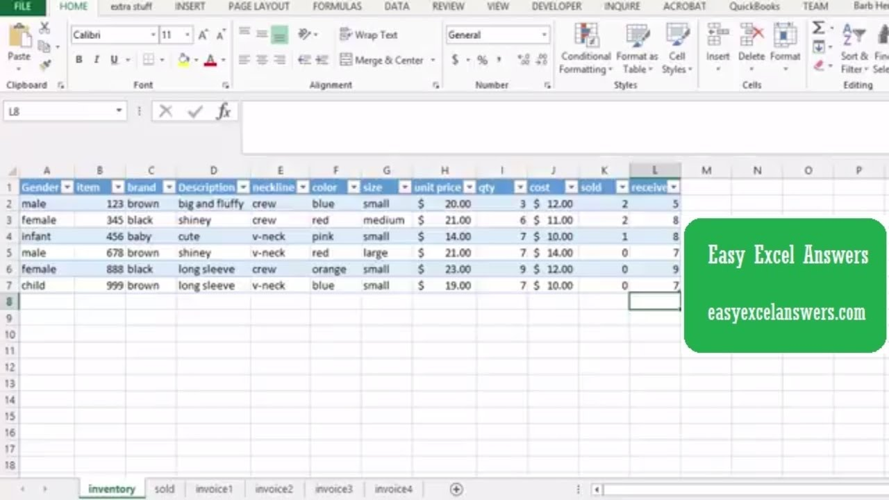 Use A Table For Your Inventory In Excel Youtube