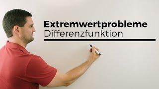 Extremwertprobleme, Differenzfunktion, Alternativ bei Parallele zur x-Achse | Mathe by Daniel Jung