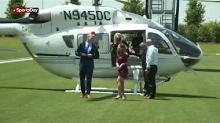 Leighton Vander Esch arrives at The Star via Jerry's chopper