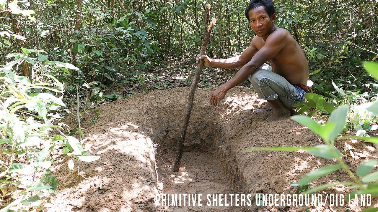 Wilderness Survival Skills: Primitive Shelters Underground/Dig Land/Primitive  Living Skill #Part 1