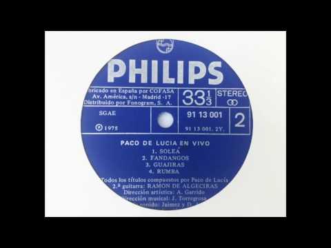 Paco de Lucía. En vivo desde en Teatro Real. Cara B. LP vinilo Philips, ed. 1975.
