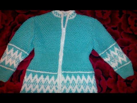 Кофта спицами  с жаккардовым рисунком детская-1 .Baby jacket knitting. скачать