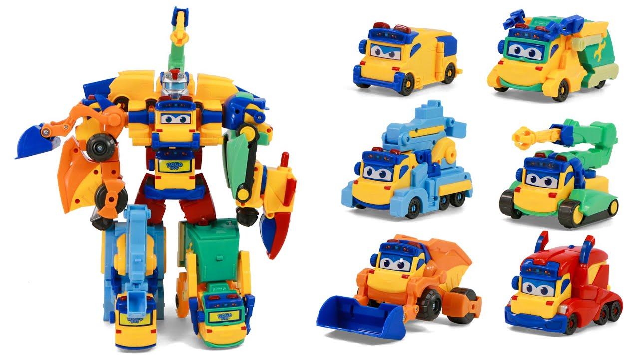 고고버스 중장비가 모였다  6대가 모이면 중장비 로봇으로 변신합체가 되는 듬직한 친구에요