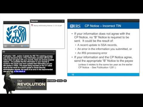 IRS Webinar: Backup Withholding: When and Why