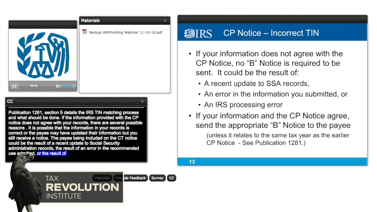 Irs webinar backup withholding when and why youtube irs webinar backup withholding when and why falaconquin