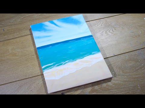 Простой Морской Пейзаж Акрилом Simple Ocean Acrylic Painting