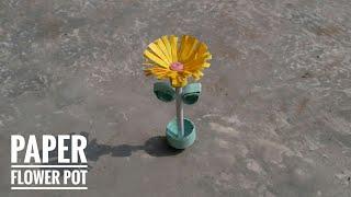 How To Make Miniature 3D Flower Pot | Mini Flower Pot With Paper | Home Decor Ideas