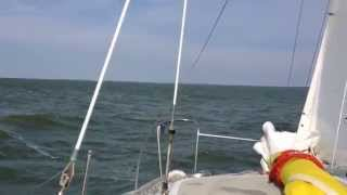 hirondelle catamaran sailing at round 20 knots windspeed