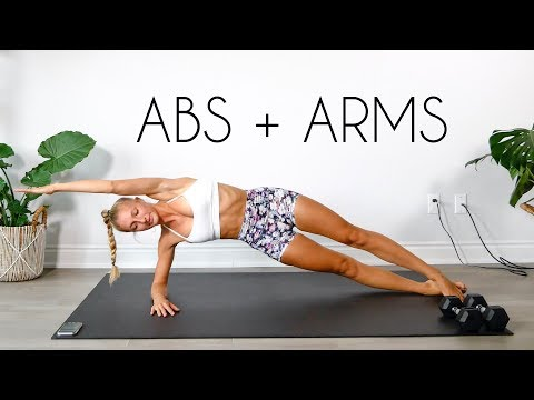 20 min FLAT ABS + TONED ARMS Workout (Apartment Friendly)