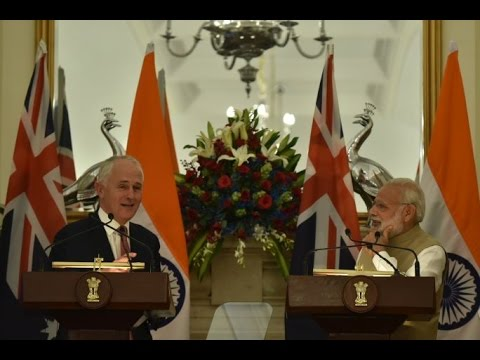 PM Modi with PM of Australia, Mr. Malcolm Turnbull at Exchange of Agreements and Press Statements