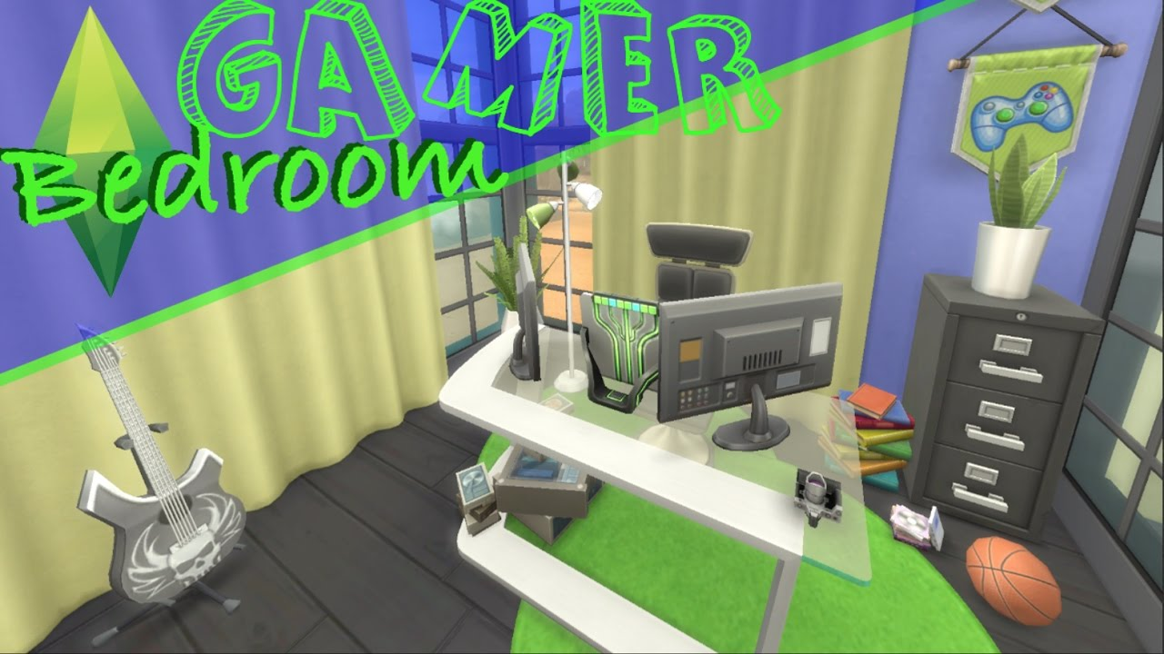 The Sims 4: GAMER BOY BEDROOM Green & Blue SPEED BUILD (No CC)