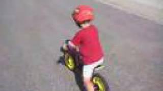 3 year old boy riding Glider Rider™ Bike - no training wheels