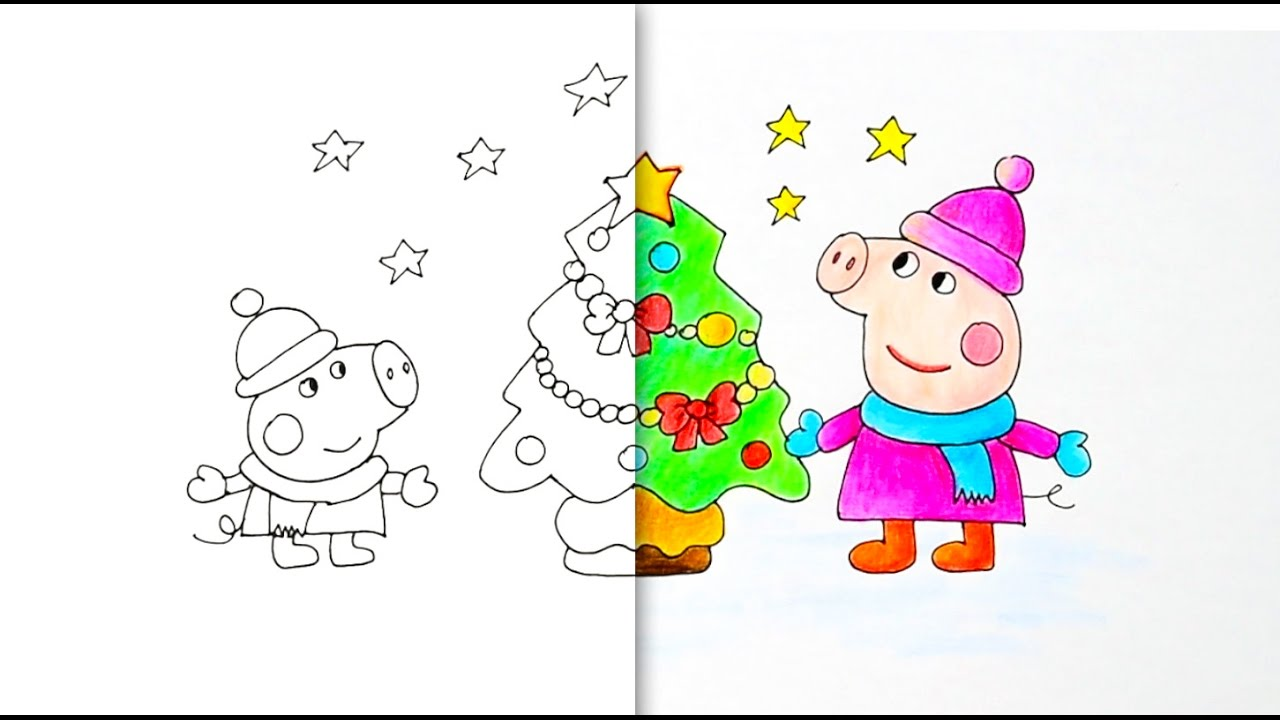 Dibujar Y Colorear A Peppa Pig En Navidad How To Draw And Paint Christmas Peppa Pig