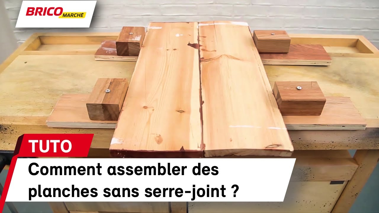 comment assembler des planches sans serre joint bricomarch youtube. Black Bedroom Furniture Sets. Home Design Ideas