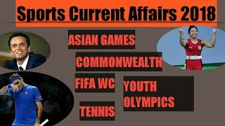 Sports Current affairs 2018 | commonwealth | tennis| asian games| CDS| SSC| BANK|