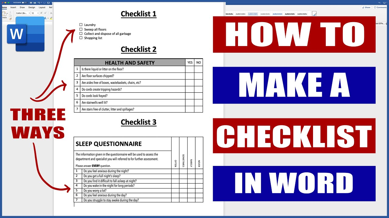 How to Make a Checklist in Word  Microsoft Word Tutorials Within Blank Checklist Template Word