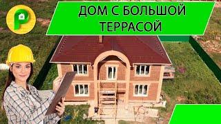 Строительство двухэтажного частного дома, 10×10, в классическом стиле, с террасой | РЕМСТРОЙСЕРВИС