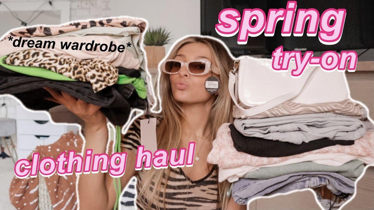 huge *aesthetic* spring clothing haul try-on | pinterest inspired