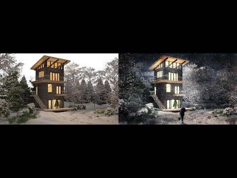 Architecture post production Winter Scene Step by Step