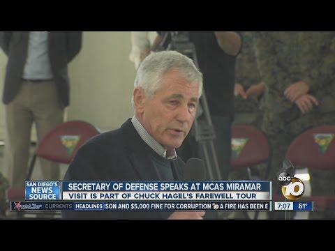 Defense secretary makes farewell appearance at MCAS Miramar