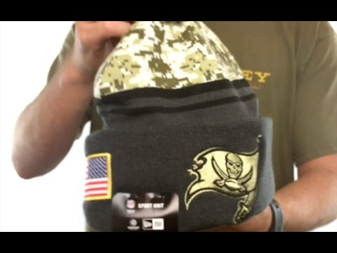 Buccaneers  2016 SALUTE-TO-SERVICE  Knit Beanie Hat by New Era - YouTube 01cd2a83c8f
