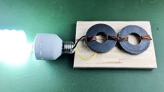 New Free Energy Light Bulbs With Magnet Using DC Motor