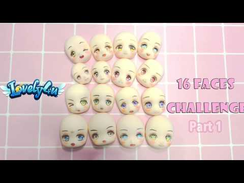 Lovely4u | VO75 | 16 clay  faces painting challenge! Part 1 |DIY|Creative Clay Figure Tutorial
