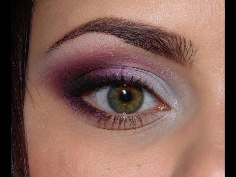 Макияж для зелёных глаз в розово-фиолетовой гамме