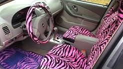 Pink Zebra Car Seat Cover Installation