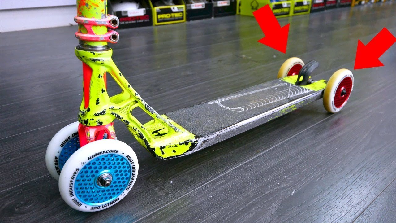 THE 4 WHEELED NEON CUSTOM PRO SCOOTER! - YouTube