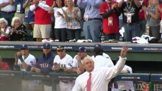 Nolan Ryan throws out 1st pitch to Pudge Rodriguez Game 3 2010 World Series Texas SF