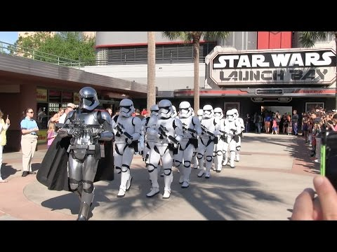 Captain Phasma leads First Order Stormtroopers in march at Hollywood Studios