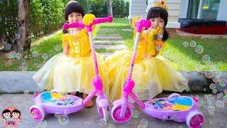 หนูยิ้มหนูแย้ม   สกู๊ตเตอร์เจ้าหญิง Disney Princess 3-Wheel Scooter with Bubbles!