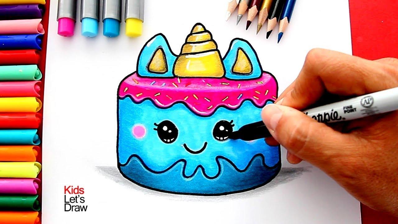 Como Dibujar Un Pastel Unicornio Kawaii Youtube
