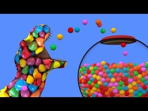 New gumball machine for Candy dinosaurs - color balls animation for kids