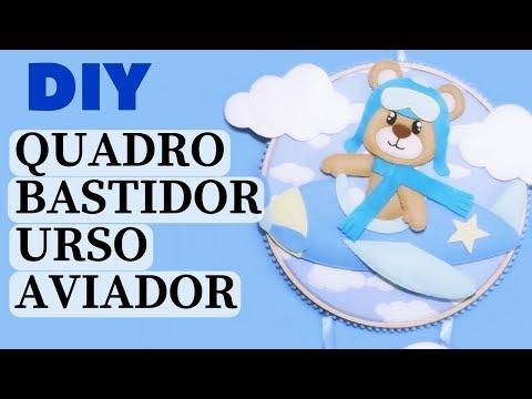 Urso Aviador de Feltro - Quadro Bastidor - Porta Maternidade