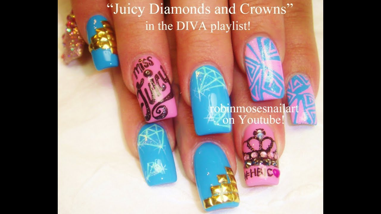 Pink and Teal Diva Nail Art | Diamonds & Crowns Bling Nails Design ...