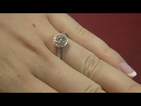 VR1007 Halo Vintage Style Diamond Engagement Ring, Dublin.