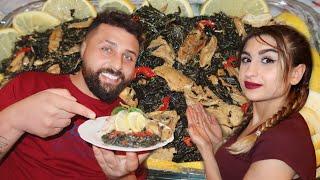 فطورنا اليوم الأكلة الملوكية الشهية(ملوخية)😋مطبخ ريتشو وننوش في رمضان والأكشن الزوجي👊🤣