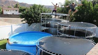 GIANT Trampoline Staircase!! (10 TRAMPOLINES) Epic Backyard Trampoline Park