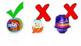 Kinder joy vs. Dairy milk lickables vs. Gems suprise ball