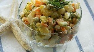 Салат с кальмарами и овощами Морской дьявол. Пошаговый рецепт
