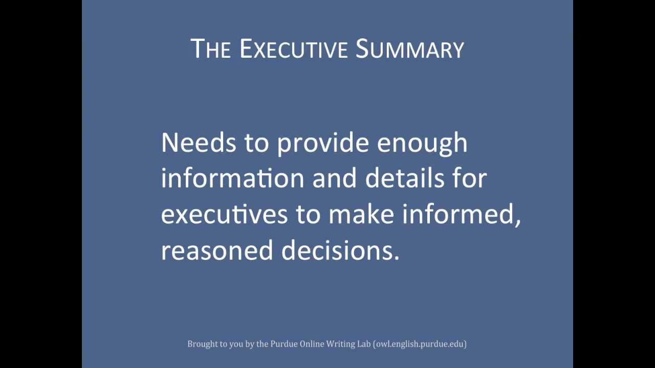 Purdue OWL Layering Reports The Executive Summary 1 YouTube